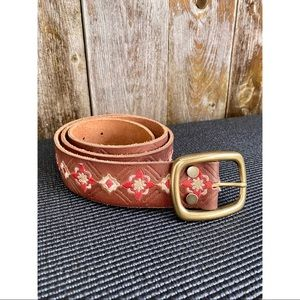 LUCKY BRAND genuine leather embroidered boho belt